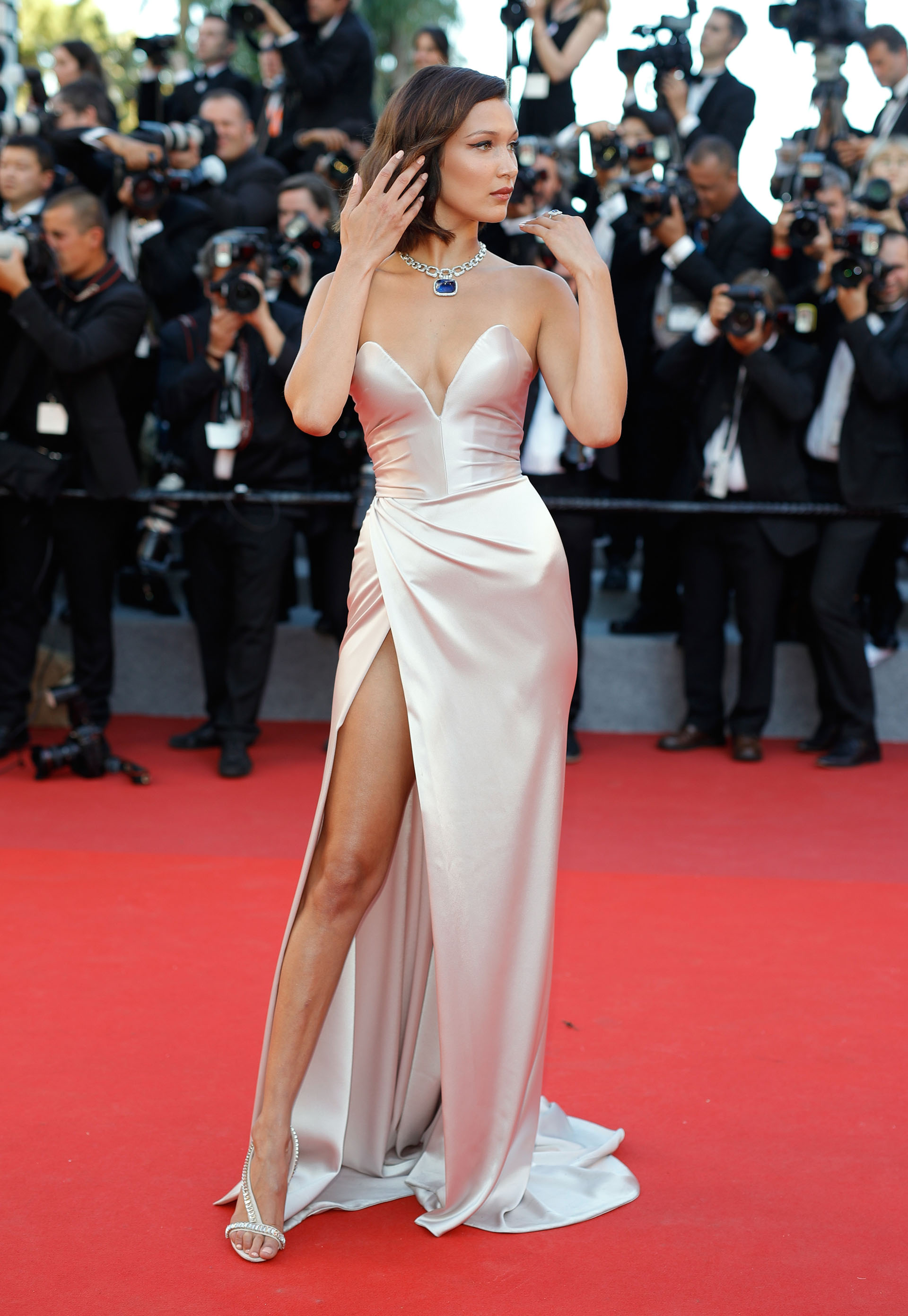 """CANNES, FRANCE - MAY 17:  Bella Hadid attends the """"Ismael's Ghosts (Les Fantomes d'Ismael)"""" screening and Opening Gala during the 70th annual Cannes Film Festival at Palais des Festivals on May 17, 2017 in Cannes, France.  (Photo by Andreas Rentz/Getty Images)"""