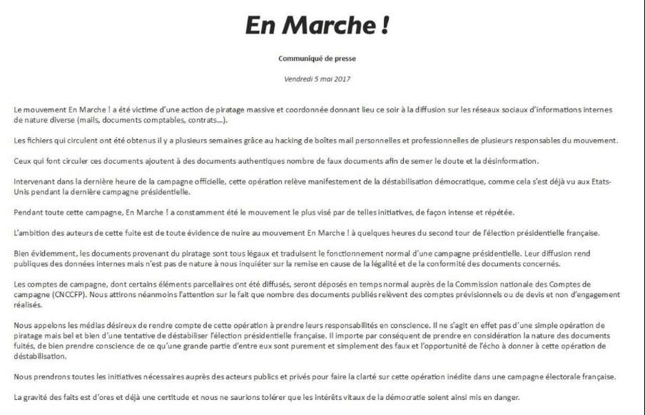 El comunicado del partido de Macron.