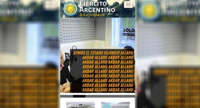 Inscipciones en la página del Ejército Argentino hackeada.