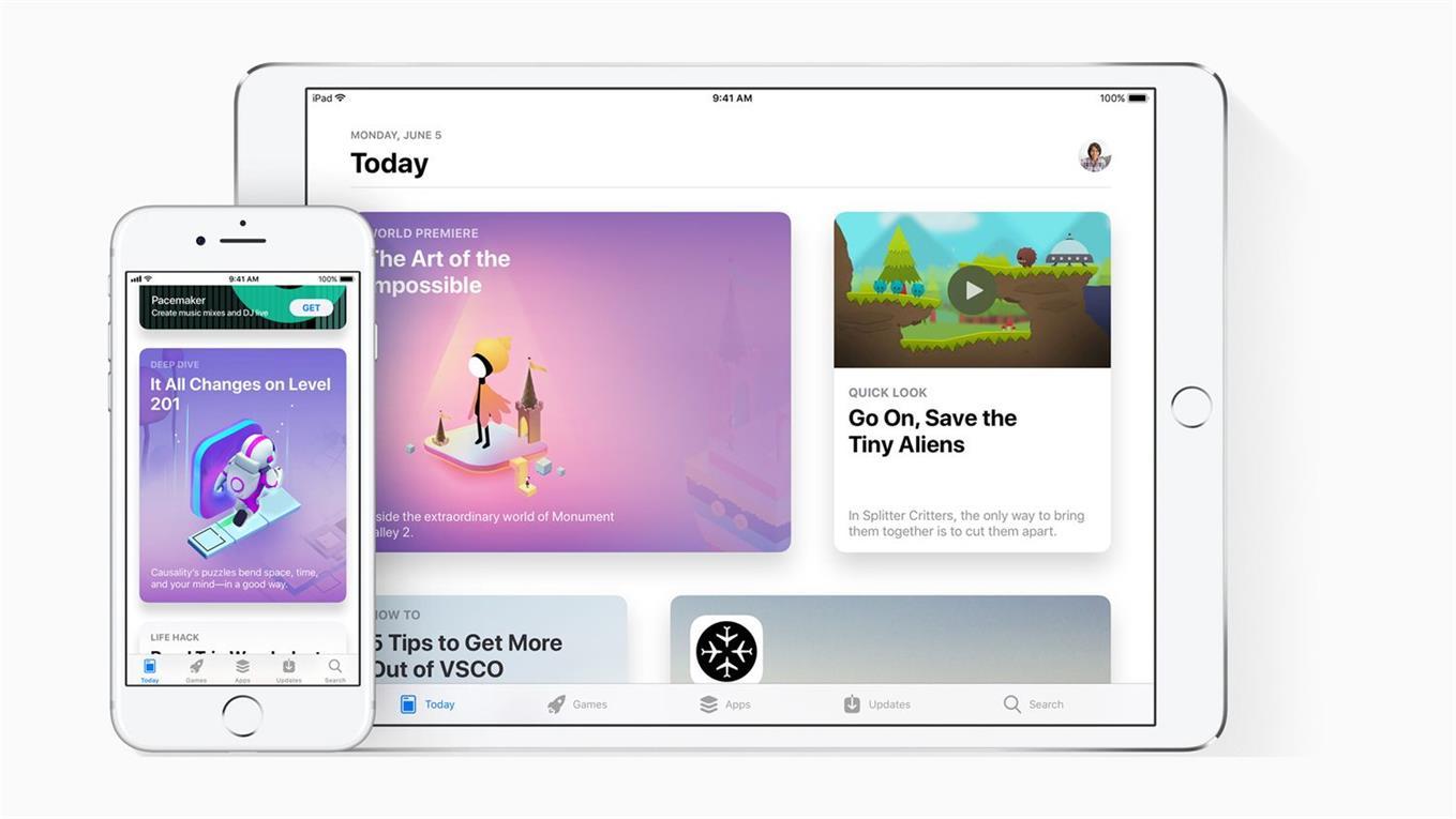 El nuevo aspecto de la tienda de aplicaciones de iOS.