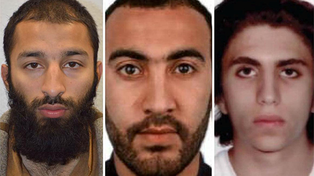 Italian national Youssef Zaghba, 22, identified by Italian and British law enforcement bodies as the third man shot dead by police officers during the attack on London Bridge and Borough Market is seen on right with the other two men named, Khuram Shazad Butt on left and Rachid Redouane, in an undated image handed out by the Metropolitan Police, June 6, 2017, Metropolitan Police Handout via REUTERS FOR EDITORIAL USE ONLY. NO RESALES. NO ARCHIVES THIS IMAGE HAS BEEN SUPPLIED BY A THIRD PARTY. IT IS DISTRIBUTED, EXACTLY AS RECEIVED BY REUTERS, AS A SERVICE TO CLIENTS
