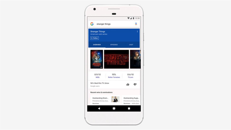 Una vista de la línea de contenidos elaborado por la aplicación Google para iOS y Androd, que estará disponible sólo en EEUU por el momento, aunque planean su despliegue paulatino a otros mercados.