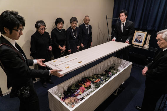 September 12, 2016 - Kawasaki City, Japan - The family of Hajime Iguchi closes his casket before he is sent for cremation.                              NYTCREDIT: Ben C. Solomon/The New York Times