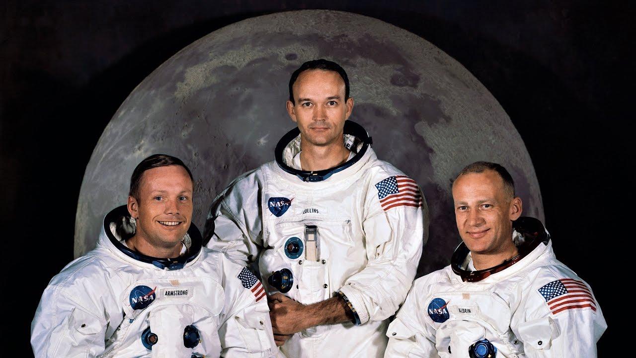 La tripulación del Apolo XI: Armstrong, Collins y Aldrin Jr en mayo de 1969
