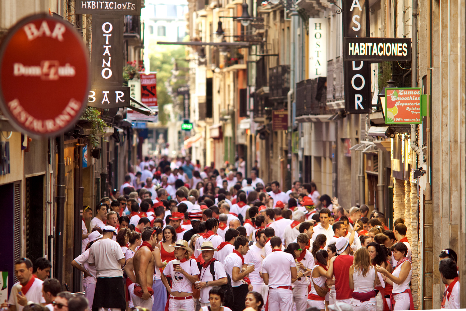 PAMPLONA, SPAIN -JULY 8: People on street  during San Fermin fes