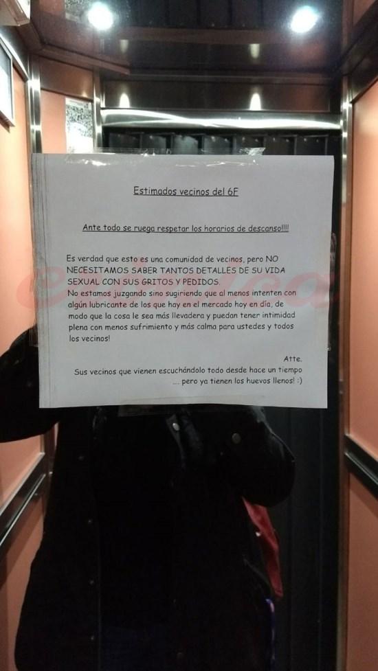 vecinos cartel ascensor