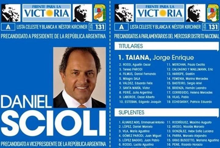 La boleta de precandidatos al Mercosur Distrito Nacional en 2015. Echegaray fue en el puesto 19.