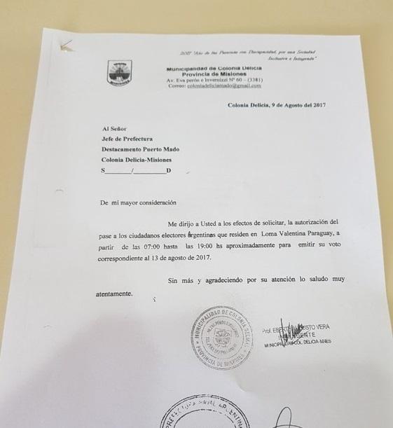 La carta del intendente que pide dejar pasar a los ciudadanos que viven en Paraguay.