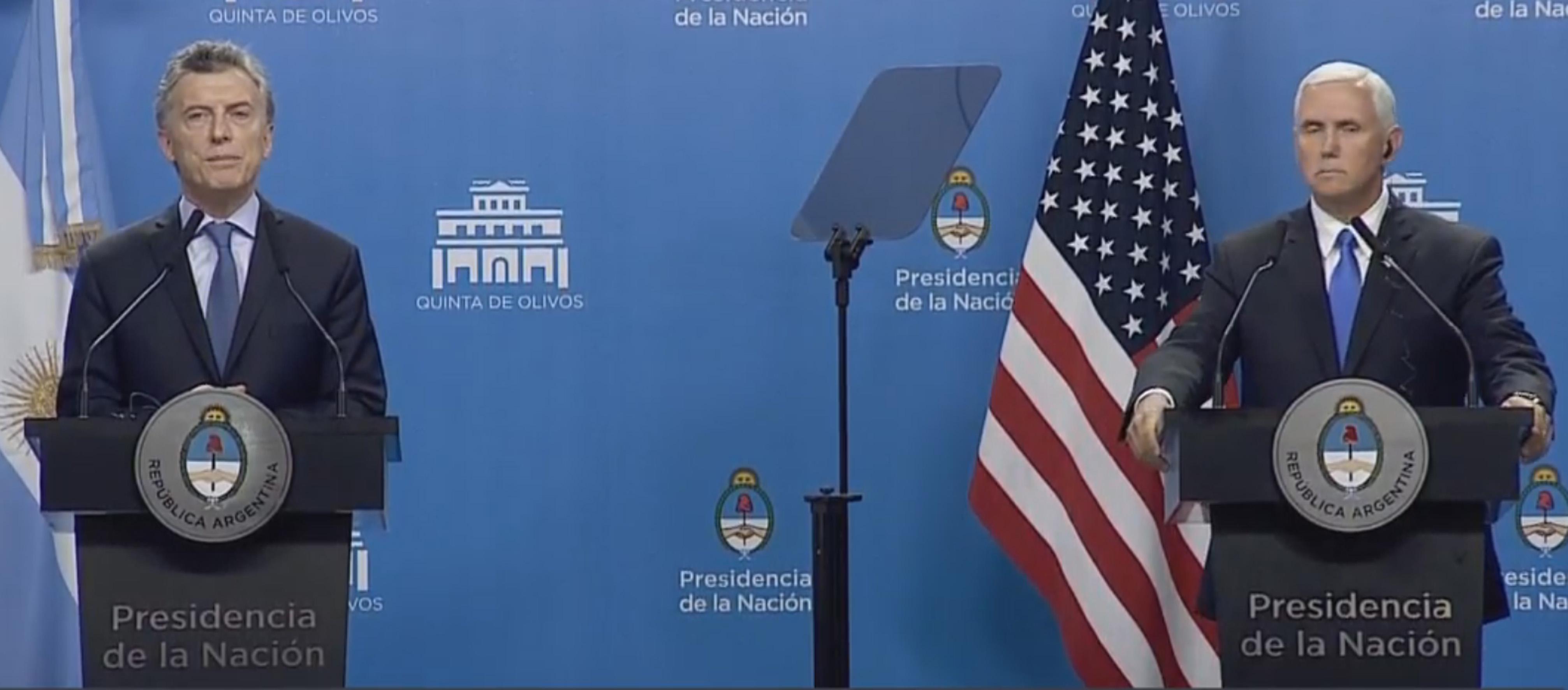 Conferencia de prensa del presidente Mauricio Macri y el vicepresidente de Estados Unidos, Mike Pence.