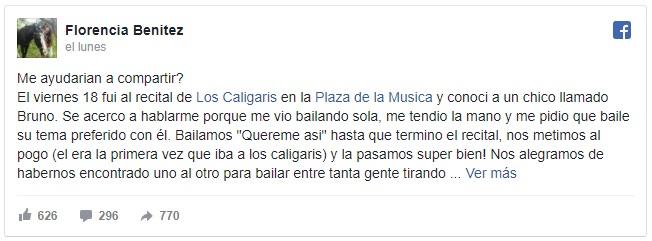 La publicación que Florencia compartió en Facebook.