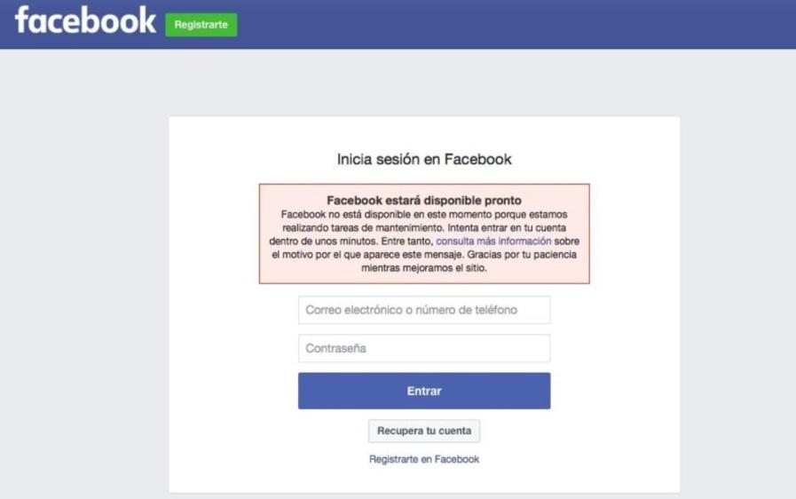 El mensaje de error que aparece al ingresar en la red social Facebook.