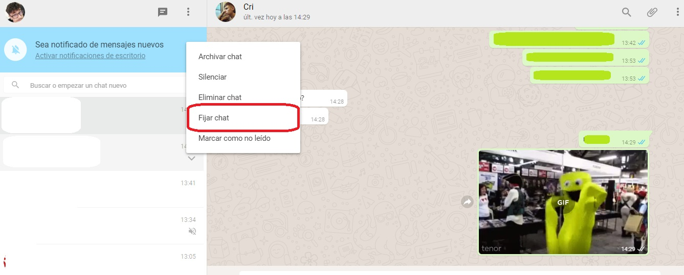 fijar chat WhatsApp web