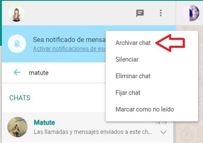 ocultar conversación WhatsApp web