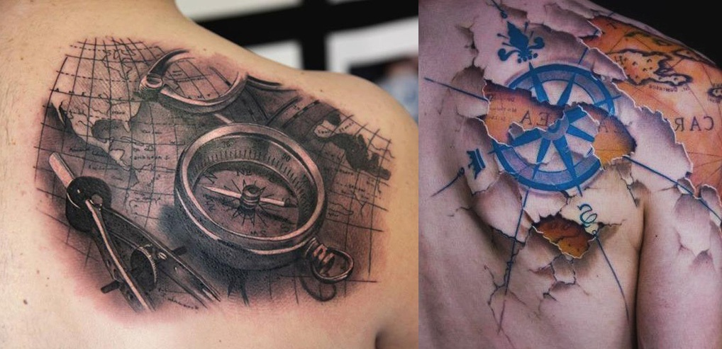 3d-realistic-compass-and-map-tattoo-on-upper-back