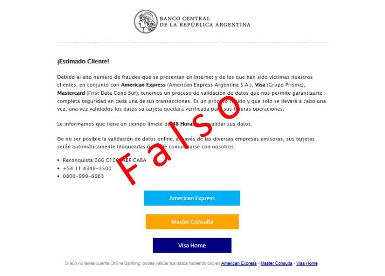 Un falso e-mail está circulando en nombre del BCRA con el objetivo de robar datos de la tarjeta de crédito de los clientes.