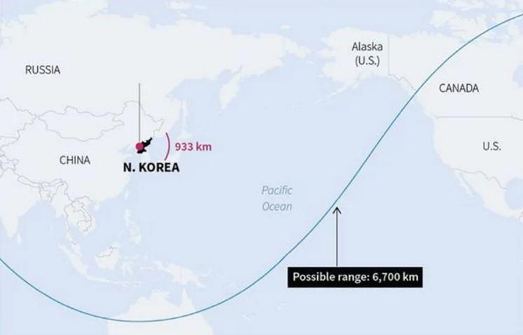 El alcance del misil Hwasong-14.