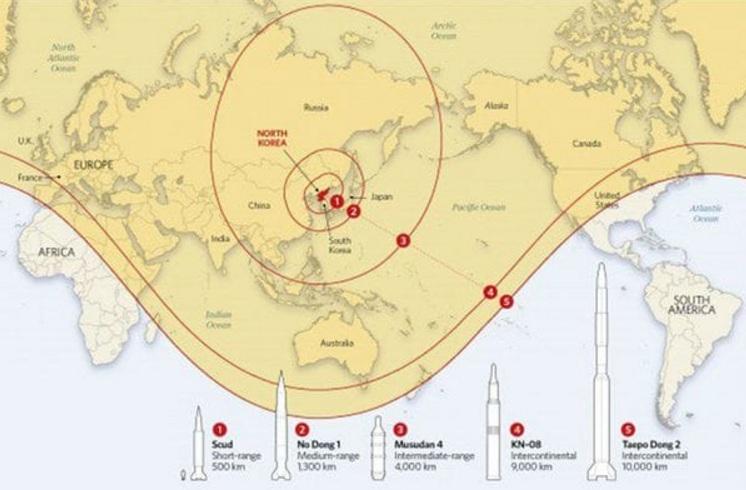 En amarillo, el alcance actual de los misiles norcoreanos: se estima que dos tercios del mundo están a merced de una orden letal de Kim Jong-un.
