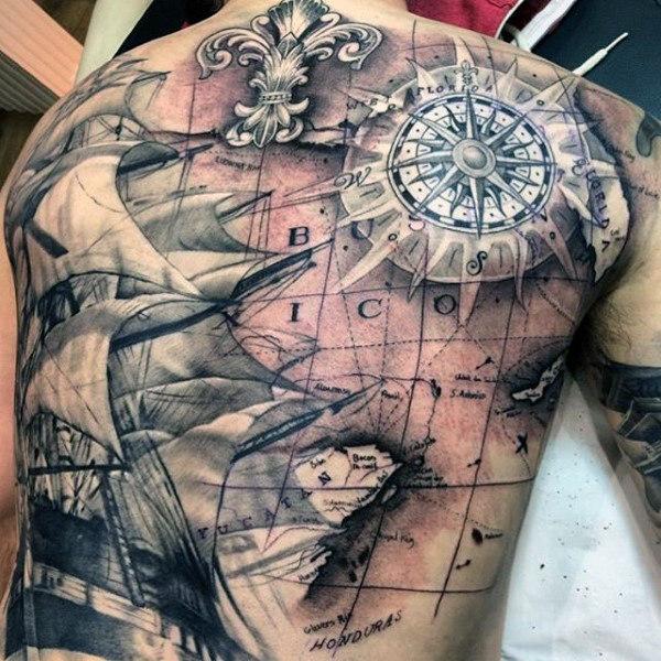 pirate-ship-treasure-map-tattoo-for-men