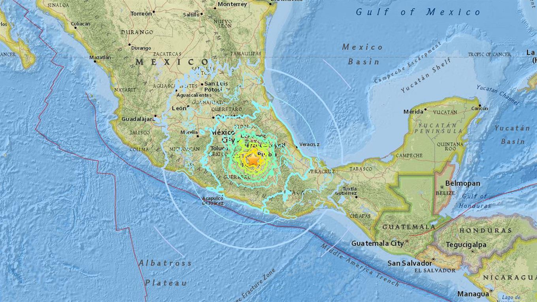La zona donde fue el epicentro del terremoto.
