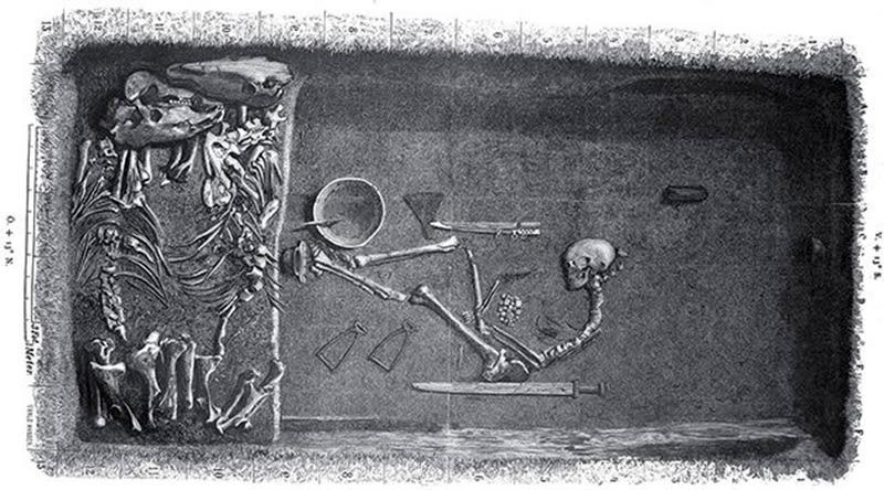 Ilustración de Evald Hansen realizada en el momento del descubrimiento de la tumba