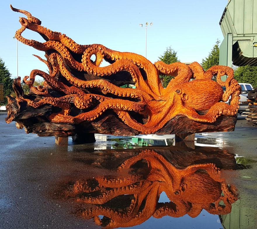 Ford Santa Rosa >> Transformó el tronco de un árbol caído en una escultura marina | Nexofin