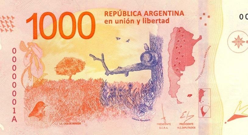 El nuevo billete de mil pesos que emitió en diciembre el Banco Central.