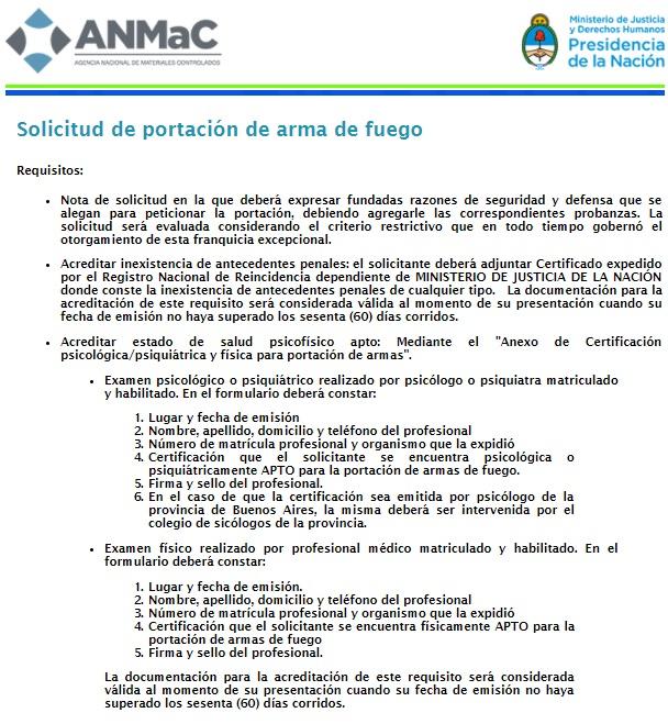 Los requisitos necesarios para obtener un arma de fuego en la Argentina.