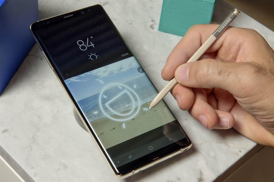 Una vista de la pantalla de 6,3 pulgadas del Galaxy Note 8.