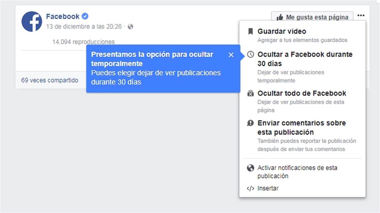 La nueva alternativa de silenciar a un usuario de Facebook por un mes.