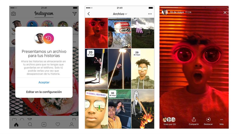 El nuevo archivo de Historias de Instagram.