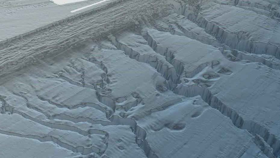 Representación digital de los cañadones del talud continental donde se buscará al San Juan. Tienen hasta mil metros de profundidad.