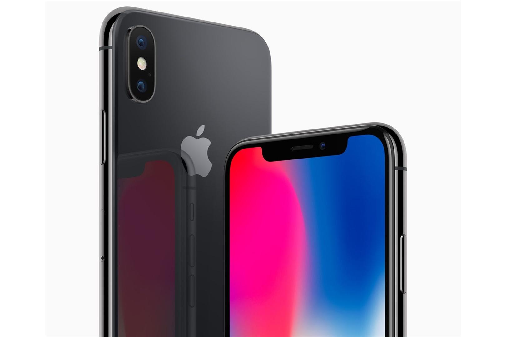 os elementos distintivos del iPhone X: la pestaña con los sensores en el frente del equipo, y la doble cámara trasera en posición vertical.