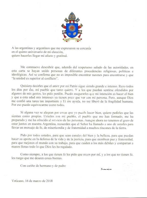 Papa Francisco - carta