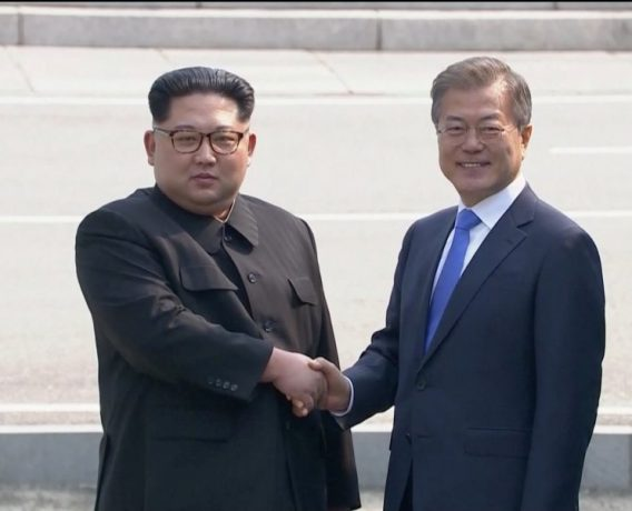 North Korean leader Kim Jong Un shakes hands with South Korean President Moon Jae-in as both of them arrive for the inter-Korean summit at the truce village of Panmunjom, in this still frame taken from video, South Korea April 27, 2018. Host Broadcaster via REUTERS TV  ATTENTION EDITORS - THIS IMAGE HAS BEEN PROVIDED BY A THIRD PARTY. NO RESALES. NO ARCHIVES. SOUTH KOREA OUT.