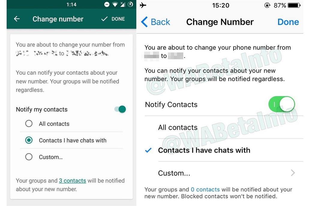 WhatsApp - cambio numero