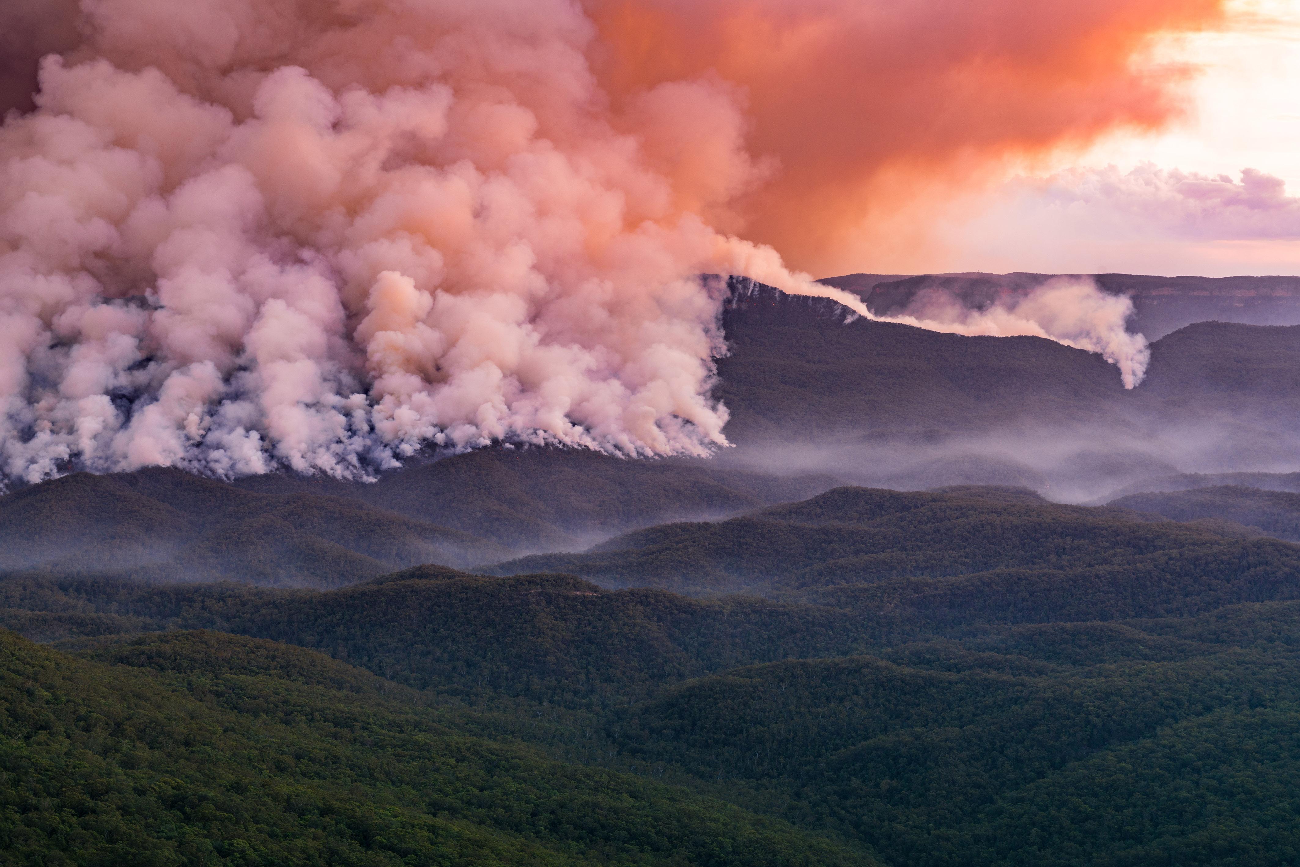 BUSH FIRE LOOKS LIKE ERUPTION