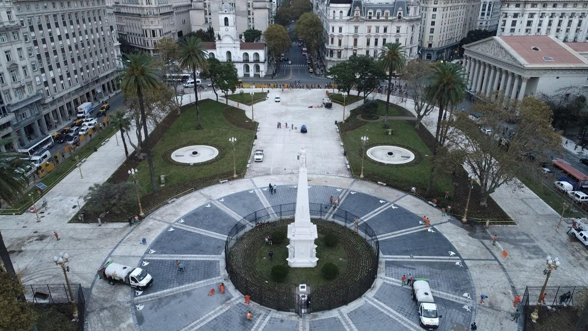 Vista de las remodelaciones de la Plaza de Mayo 28/05/18 foto: Mario Quinteros