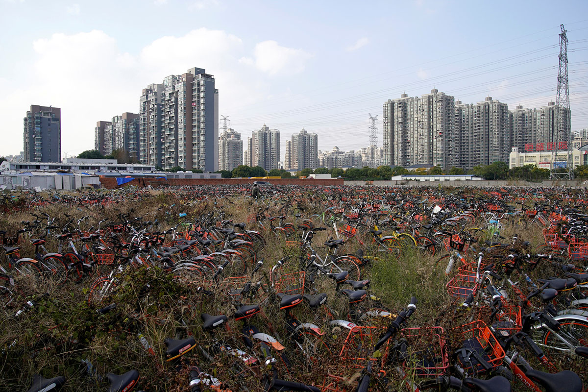 Bicycles of various bike-sharing services are seen in Shanghai