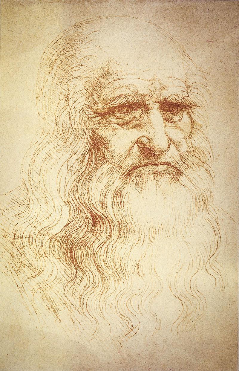 Leonardo da Vinci (1452-1519). Leonardo da Vinci, Italian painter, sculptor, architect, naturalist and inventor, Vinci (nr. Empoli) 15.4.1452 - Chateau Cloux nr. Amboise 2.5.1519. Self-portrait. Red chalk drawing. 33.2 × 21.2cm. Turin, Biblioteca Reale. Credit: Album / akg-images