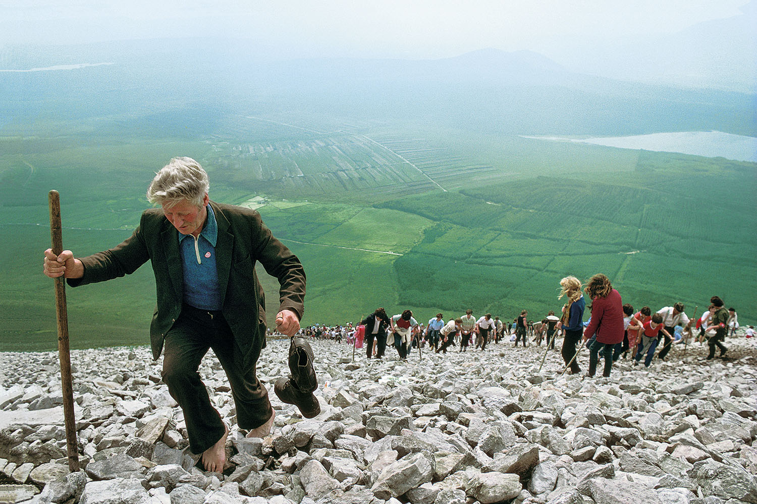 Ireland, County Mayo, Croagh Patrick Mount, traditional pilgrimage on the last Sunday of July, pilgrims climbing the mountain