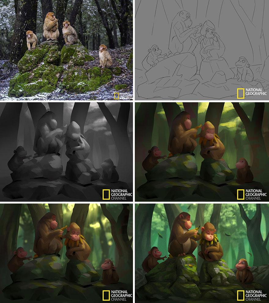 Artist-transforms-National-Geographic-photographs-into-adorable-illustrations-5b3de2cfe5e7f__880
