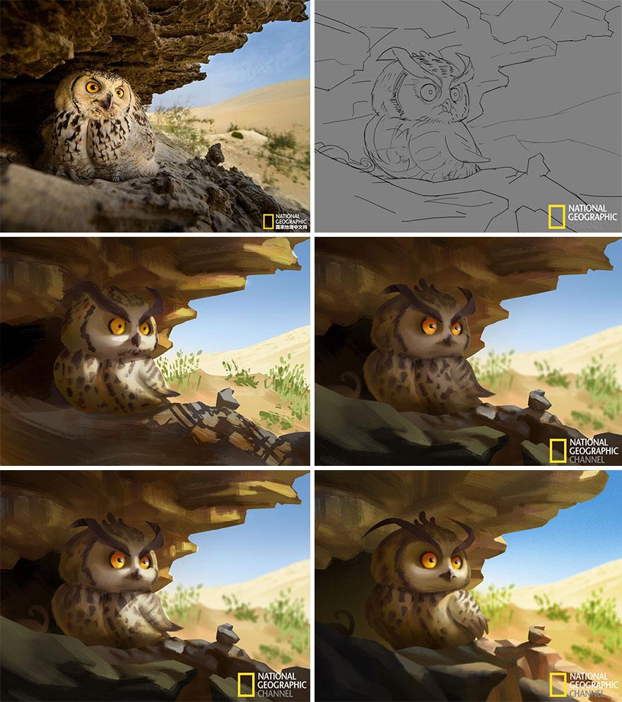 Artist-transforms-National-Geographic-photographs-into-adorable-illustrations-5b3de2daa2413__880