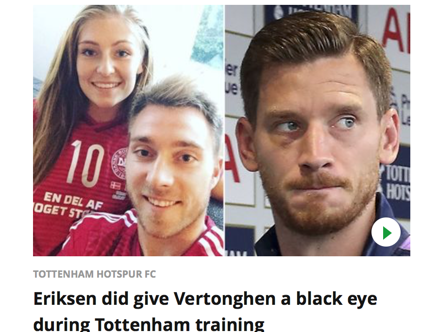 Escándalo en Tottenham: acusan a la esposa de Eriksen de un romance con un compañero