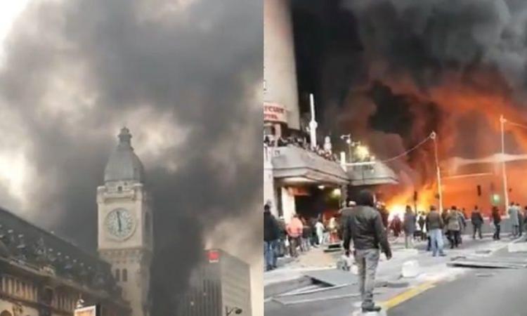 Videos: incendio en una estación de trenes de París