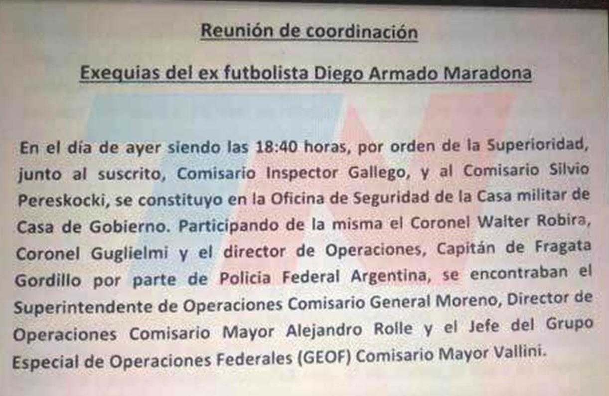 El documento que prueba que el Gobierno provocó el caos en el velorio de Maradona | Nexofin